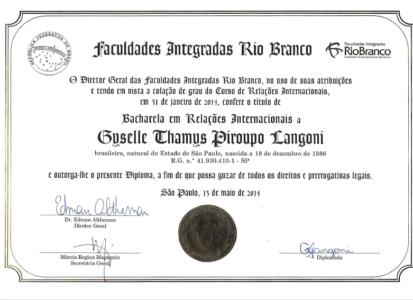 Diploma Relações Internacionais